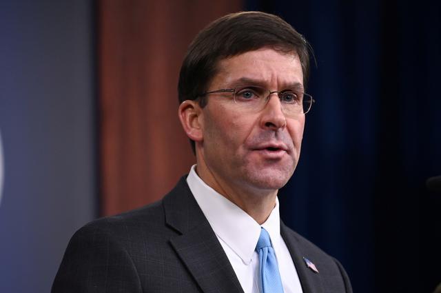 FILE PHOTO: U.S. Defense Secretary Mark Esper addresses reporters during a media briefing at the Pentagon in Arlington, Virginia, U.S., October 11, 2019. REUTERS/Erin Scott/File Photo