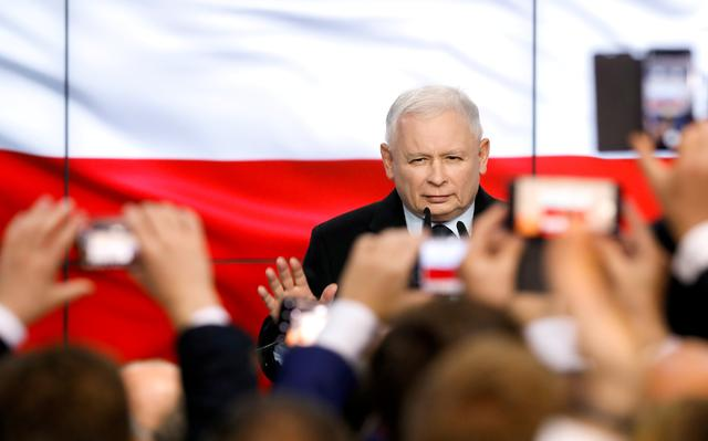 FILE PHOTO: Poland's ruling party Law and Justice (PiS) leader Jaroslaw Kaczynski gestures as he speaks after the exit poll results are announced in Warsaw, Poland, October 13, 2019. REUTERS/Kacper Pempel/File Photo