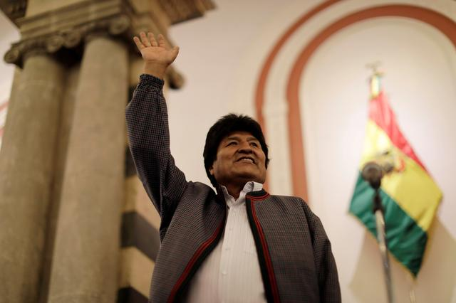 Bolivia's President and presidential candidate Evo Morales of the Movement Toward Socialism (MAS) reacts after the results for the first round of the country's presidential election were announced, in La Paz, Bolivia October 20, 2019. REUTERS/Ueslei Marcelino