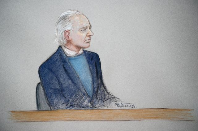 WikiLeaks founder Julian Assange is seen in the courtroom sketch during a case management hearing in Assange's U.S. extradition case at Westminster Magistrates Court, in London, Britain, October 21, 2019. Julia Quenzler/Handout via REUTERS