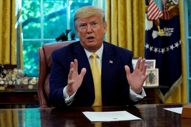 FILE PHOTO: U.S. President Donald Trump speaks during a meeting with China's Vice Premier Liu He in the Oval Office at the White House after two days of trade negotiations in Washington, U.S., October 11, 2019. REUTERS/Yuri Gripas/File Photo