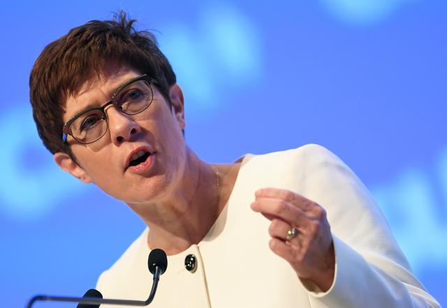 FILE PHOTO: Christian Democratic Union (CDU) party leader Annegret Kramp-Karrenbauer speaks during the Christian Social Union (CSU) party meeting in Munich, Germany, October 19, 2019. REUTERS/Andreas Gebert