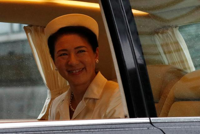 Japan's Empress Masako arrives at the Imperial Palace on the day Emperor Naruhito is formally enthroned, in Tokyo, Japan October 22, 2019.  REUTERS/Edgar Su