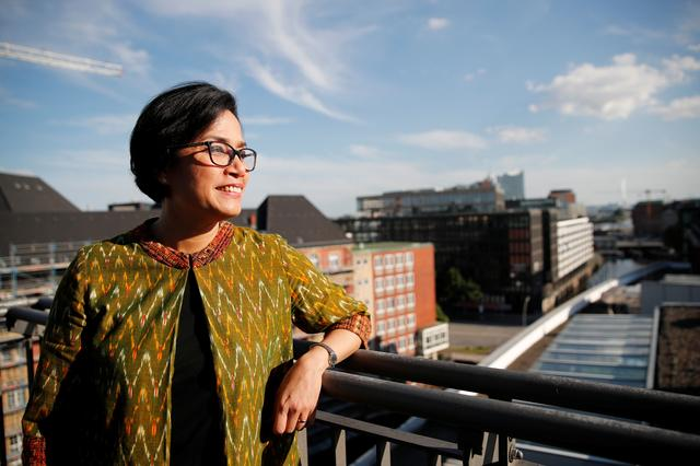 FILE PHOTO: Indonesian Finance Minister Sri Mulyani Indrawati during an interview with Reuters ahead of the G20 summit in Hamburg, Germany, July 6, 2017.  REUTERS/Wolfgang Rattay