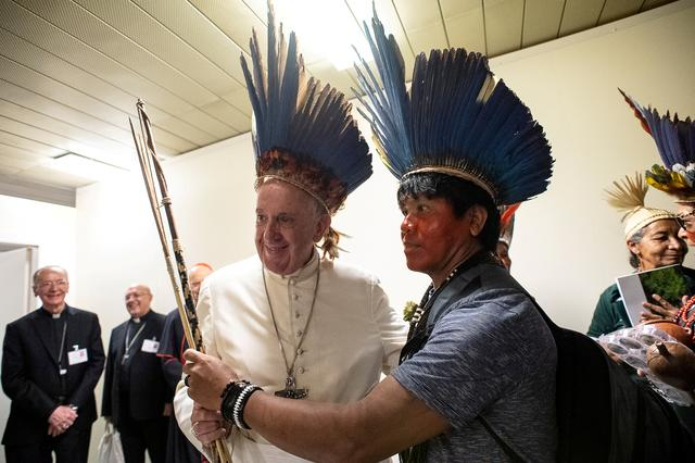 FILE PHOTO: Pope Francis meets with Indigenous Community of Amazonia at the Vatican October 17, 2019.   Vatican Media/Handout via REUTERS