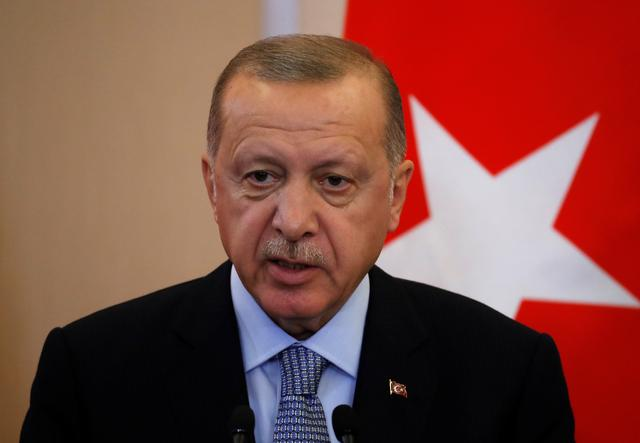 Turkish President Recep Tayyip Erdogan attends a joint news conference with Russian President Vladimir Putin (not pictured) following Russian-Turkish talks in the Black sea resort of Sochi, Russia October 22, 2019. Sergei Chirikov/Pool via REUTERS