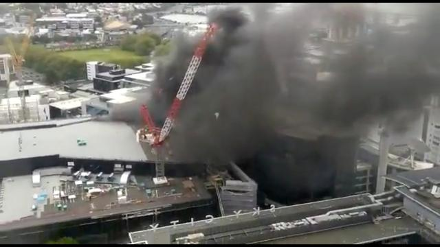 Smoke rises as a fire blazes at Sky City Convention Centre, which is under construction in Auckland, New Zealand, October 22, 2019, in this still image taken from video obtained from social media. Amy Wadsworth via REUTERS