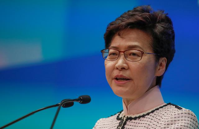 FILE PHOTO: Hong Kong Chief Executive Carrie Lam holds a news conference after her policy address for 2019, in Hong Kong, China, October 16, 2019. REUTERS/Umit Bektas