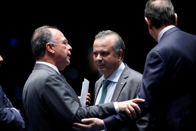 Brazil's Secretary of Social Security Rogerio Marinho and senator Fernando Bezerra attend a session to vote on the pension reform bill in Brasilia, Brazil October 22, 2019. REUTERS/Adriano Machado