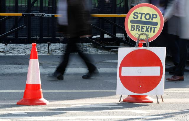An anti-BREXIT sign is seen outside the Houses of Parliament in London, Britain October 22, 2019. REUTERS/Peter Nicholls