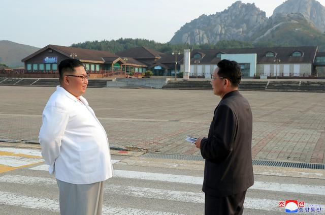 North Korean leader Kim Jong Un inspects the Mount Kumgang tourist resort, North Korea, in this undated picture released by North Korea's Central News Agency (KCNA) on October 23, 2019.     KCNA via REUTERS