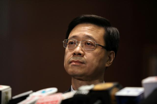 Secretary of Security John Lee Ka-Chiu announces the withdrawal of the extradition bill, in Hong Kong, China October 23, 2019. REUTERS/Ammar Awad