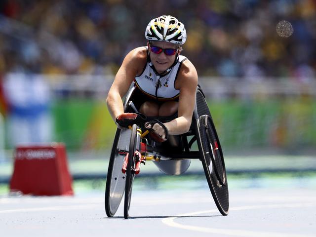 2016 Rio Paralympics - Athletics - Women's 100m - T52 Final - Olympic Stadium - Rio de Janeiro, Brazil - 17/09/2016. Marieke Vervoort of Belgium celebrates winning the bronze medal in the event.  REUTERS/Jason Cairnduff/File Photo