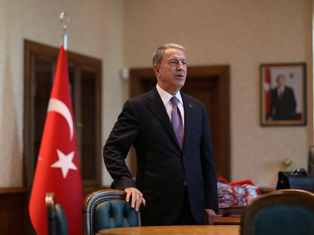 Turkish Defence Minister Hulusi Akar is seen during an interview with Reuters in Ankara, Turkey, October 23, 2019. Turkish Defence Ministry/Handout via REUTERS