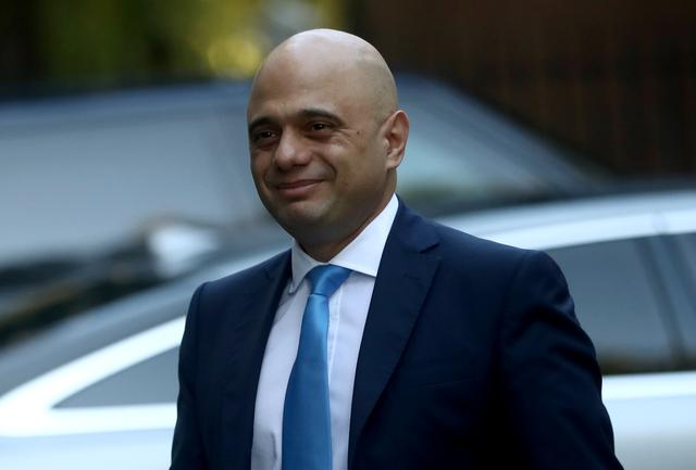 Britain's Chancellor of the Exchequer Sajid Javid walks outside Downing Street in London, Britain October 22, 2019. REUTERS/Simon Dawson