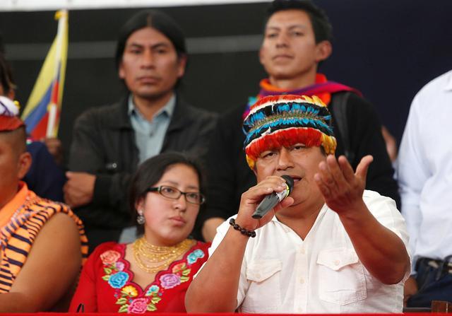 FILE PHOTO: Ecuadorean indigenous leader Jaime Vargas addresses the media during a news conference in Quito, Ecuador, October 14, 2019. REUTERS/Daniel Tapia