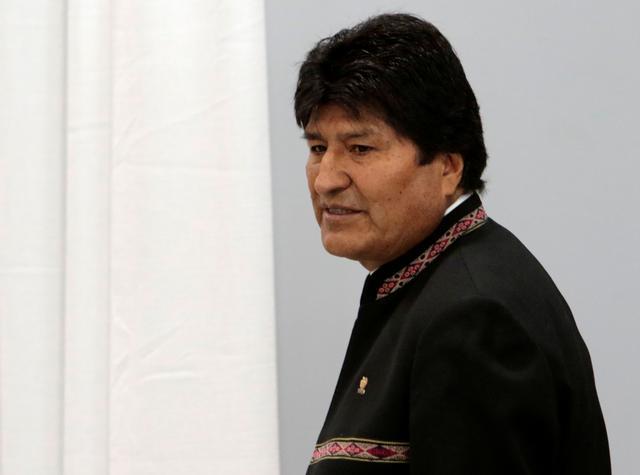 Bolivia's President Evo Morales leaves a news conference at the presidential palace La Casa Grande del Pueblo in La Paz, Bolivia, October 23, 2019. REUTERS/Manuel Claure