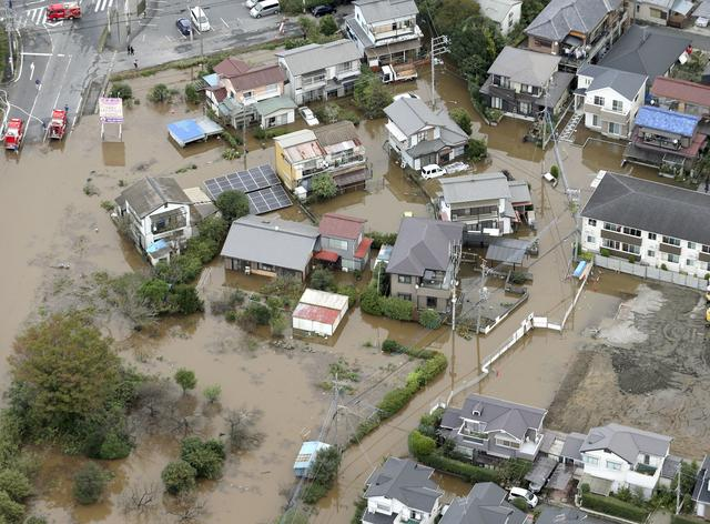 A flooded residential area after a heavy rain is seen in Sakura, Chiba prefecture, east of Tokyo, Japan, October 26, 2019, in this photo released by Kyodo. Mandatory credit Kyodo/via REUTERS