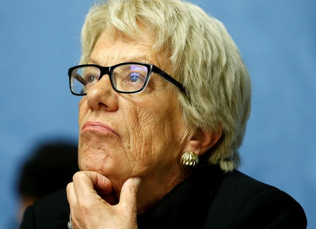FILE PHOTO: Carla del Ponte, member of the Independent Commission of Inquiry on the Syrian Arab Republic attends a news conference into events in Aleppo at the United Nations in Geneva, Switzerland, March 1, 2017. REUTERS/Denis Balibouse/File Photo