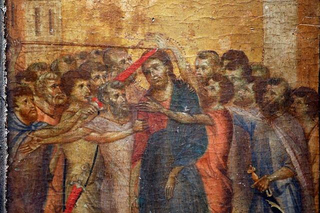 """FILE PHOTO: A part of the painting """"Christ Mocked"""", a long-lost masterpiece by Florentine Renaissance artist Cimabue in the late 13th century, which was found months ago hanging in an elderly woman's kitchen in the town of Compiegne, is seen in Paris, France, September 24, 2019.    REUTERS/Charles Platiau/File Photo"""