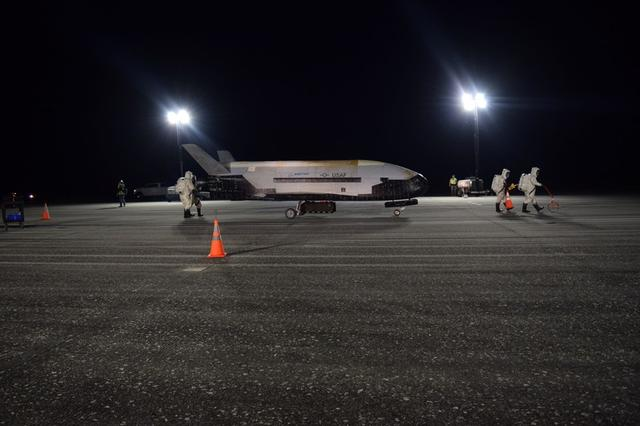 The Air Force's X-37B Orbital Test Vehicle Mission 5 is seen after landing at NASA's Kennedy Space Center Shuttle Landing Facility, Florida, U.S., October 27, 2019. U.S. Air Force/Handout via REUTERS