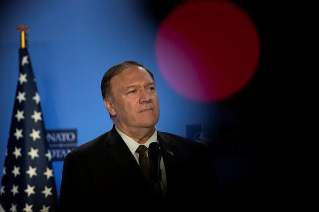 FILE PHOTO: U.S. Secretary of State Mike Pompeo is pictured at NATO headquarters in Brussels, Belgium October 18, 2019.   Francisco Seco//Pool via REUTERS