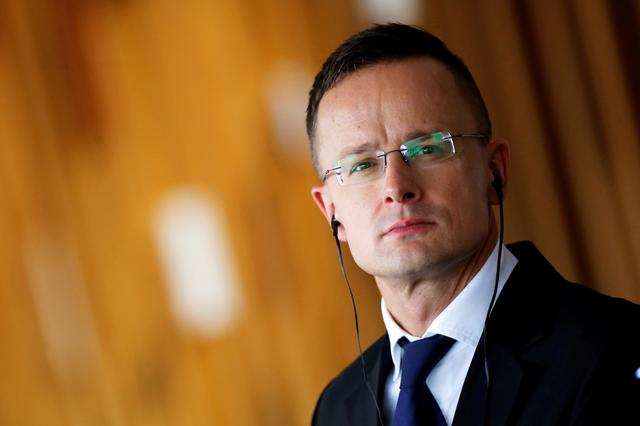 FILE PHOTO: Hungarian Foreign Minister Peter Szijjarto attends a news conference at the Itamaraty Palace in Brasilia, Brazil October 8, 2019. REUTERS/Adriano Machado/File Photo