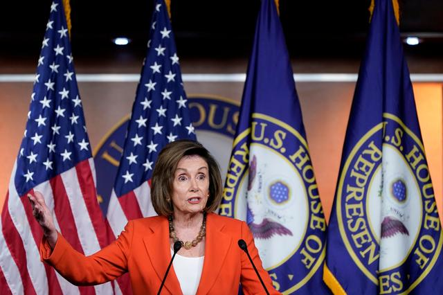 Speaker of the House Nancy Pelosi (D-CA) speaks during a media briefing ahead of a House vote authorizing an impeachment inquiry into U.S. President Trump on Capitol Hill in Washington, U.S., October 31, 2019.      REUTERS/Joshua Roberts