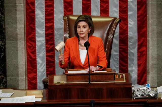 Speaker of the House Nancy Pelosi wields the gavel as she presides over the U.S. House of Representatives vote on a resolution that sets up the next steps in the impeachment inquiry of U.S. President Donald Trump on Capitol Hill in Washington, U.S., October 31, 2019. REUTERS/Tom Brenner