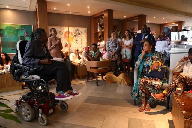 British-born Nigerian artist Yinka Shonibare speaks during the launching of a residency program to boost African art, in Lagos, Nigeria November 2, 2019. Picture taken November 2, 2019. REUTERS/Temilade Adelaja