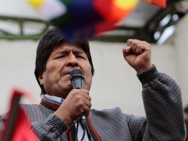 FILE PHOTO: Bolivia's President Evo Morales addresses supporters in La Paz, Bolivia, November 5, 2019. REUTERS/Manuel Claure/File Photo