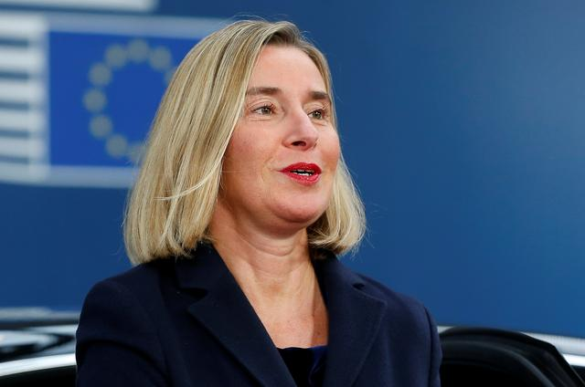 European Union High Representative for Foreign Affairs and Security Policy Federica Mogherini arrives at the European Union leaders summit, in Brussels, Belgium October 17, 2019. Julien Warnand/Pool via REUTERS