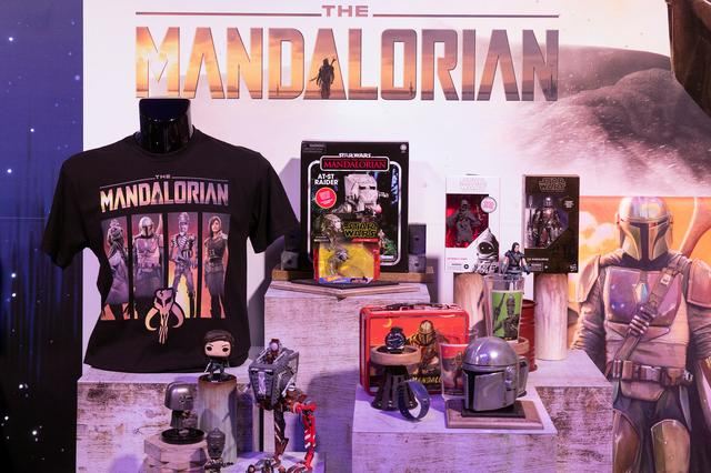 FILE PHOTO: Merchandise from Star Wars: The Mandalorian, television series sit on display at the announcement of new Star Wars products at Pinewood Studios, Iver Heath Britain September 26, 2019. REUTERS/Simon Dawson
