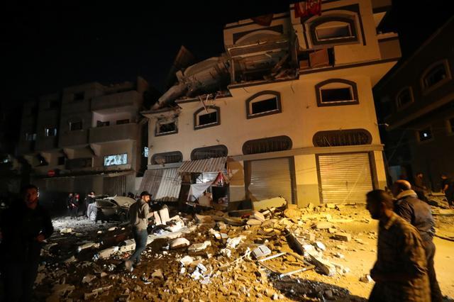 The home of Islamic Jihad field commander Baha Abu Al-Atta is seen after it was hit by an Israeli strike in Gaza City November 12, 2019. REUTERS/Mohammed Salem