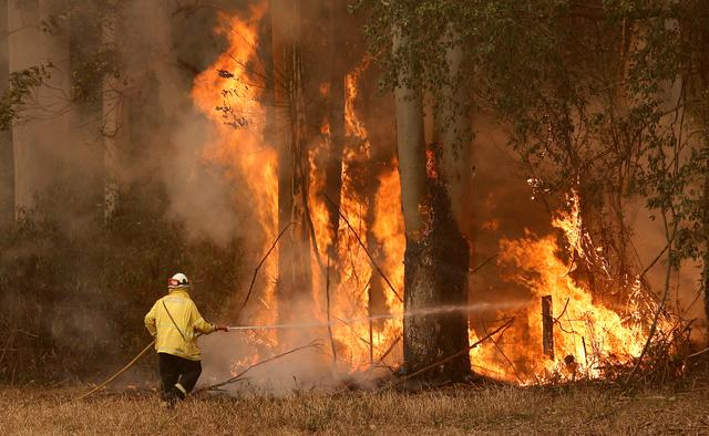 A Tuncurry fire crew member fights part of the Hillville bushfire south of Taree, in the Mid North Coast region of NSW, Australia, November 12, 2019.  AAP Image/Darren Pateman/via REUTERS    ATTENTION EDITORS - THIS IMAGE WAS PROVIDED BY A THIRD PARTY. NO RESALES. NO ARCHIVE. AUSTRALIA OUT. NEW ZEALAND OUT.