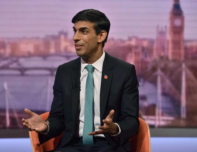 FILE PHOTO: Britain's Chief Secretary to the Treasury Rishi Sunak appears on BBC TV's The Andrew Marr Show in London, Britain, November 3, 2019. Jeff Overs/BBC/Handout via REUTERS/File Photo