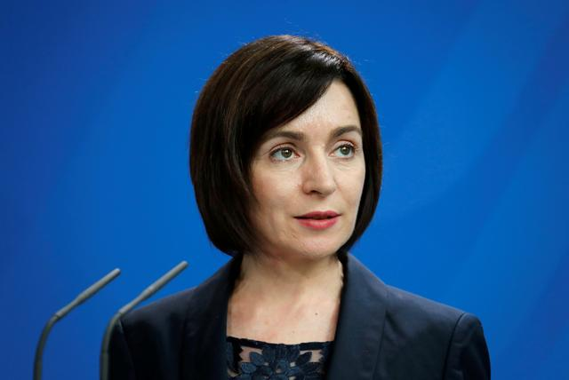 FILE PHOTO: Moldova's Prime Minister Maia Sandu speaks during a joint news conference at the Chancellery in Berlin, Germany July 16, 2019. REUTERS/Fabrizio Bensch