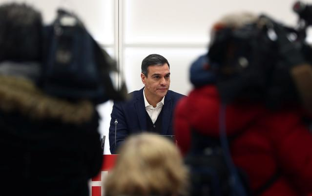 FILE PHOTO: Spain's acting Prime Minister Pedro Sanchez addresses a Socialists executive board meeting at party headquarters in Madrid, Spain, November 11, 2019. REUTERS/Sergio Perez