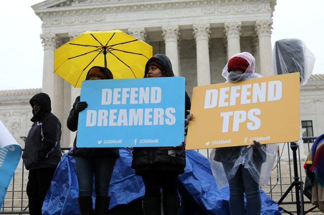Prootesters gather outside the U.S. Supreme Court as justices were scheduled to hear oral arguments in the consolidation of three cases before the court regarding the Trump administration's bid to end the Deferred Action for Childhood Arrivals (DACA) program in Washington, U.S., November 12, 2019. REUTERS/Jonathan Ernst