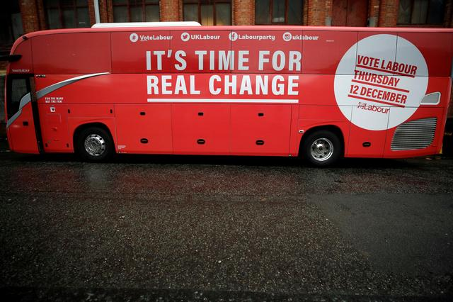 FILE PHOTO: The Labour party campaign bus is seen in Liverpool, Britain November 7, 2019. REUTERS/Phil Noble