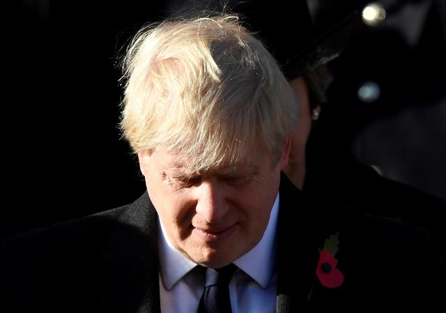Britain's Prime Minister Boris Johnson attends a National Service of Remembrance at The Cenotaph in Westminster, London, Britain, November 10, 2019. REUTERS/Toby Melville