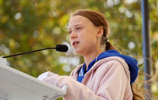 FILE PHOTO: Swedish teen environmental activist Greta Thunberg speaks at a climate change rally in Charlotte, North Carolina, U.S. November 8, 2019.  REUTERS/Chris Keane/File Photo