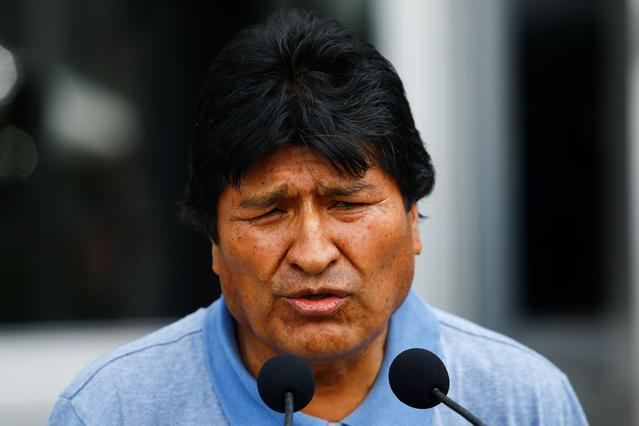 Bolivia's ousted President Evo Morales speaks during his arrival to take asylum in Mexico, in Mexico City, Mexico, November 12, 2019. REUTERS/Edgard Garrido