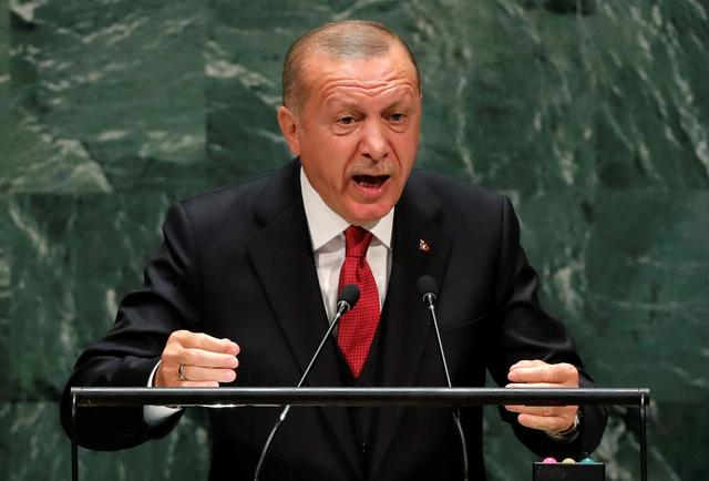 FILE PHOTO: Turkey's President Recep Tayyip Erdogan addresses the 74th session of the United Nations General Assembly at U.N. headquarters in New York City, New York, U.S., September 24, 2019. REUTERS/Lucas Jackson/File Photo