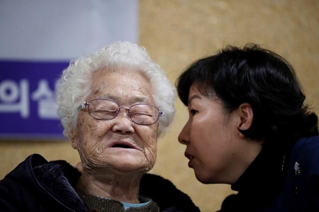 "Former South Korean ""comfort woman"" Lee Ok-sun attends a news conference in Seoul, South Korea, November 13, 2019.   REUTERS/Kim Hong-Ji"