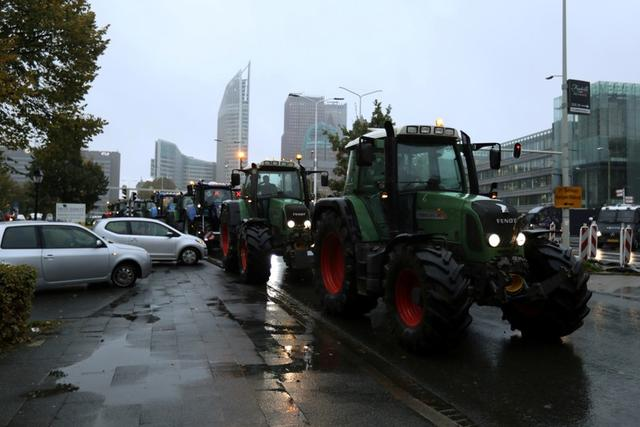 FILE PHOTO: Protesters leave a demonstration by Dutch farmers aiming to block the traffic in The Hague, Netherlands October 16, 2019. REUTERS/Eva Plevier/File Photo