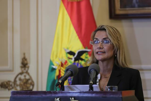 Bolivian Interim President Jeanine Anez reads a statement at the Presidential Palace, in La Paz, Bolivia November 13, 2019. REUTERS/Luisa Gonzalez
