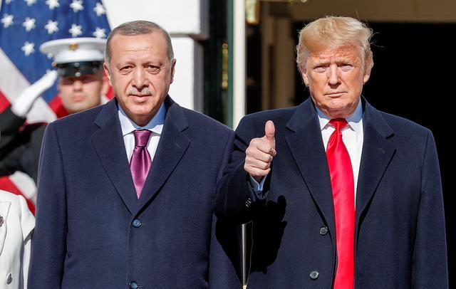U.S. President Donald Trump welcomes Turkey's Pressident Tayyip Erdogan at the White House in Washington, U.S., November 13, 2019. REUTERS/Tom Brenner