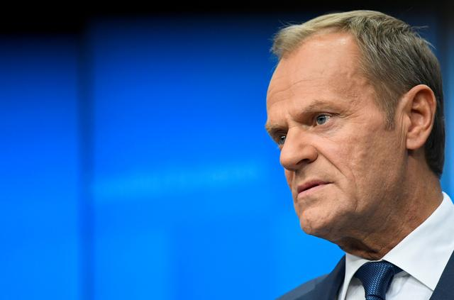 FILE PHOTO: European Council President Donald Tusk looks on during a news conference in Brussels, Belgium, October 18, 2019. REUTERS/Piroschka van de Wouw/File Photo