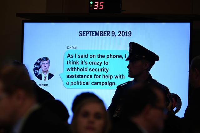 A text message is displayed at a House Intelligence Committee hearing as part of the impeachment inquiry into U.S. President Donald Trump on Capitol Hill in Washington, U.S., November 13, 2019. REUTERS/Erin Scott